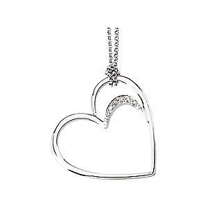 Pretty Heart Within a Heart  14k White Gold Pendant with Diamond Accents - FREE Chain - SOLD