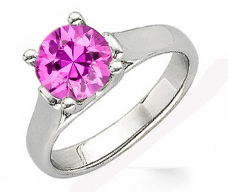 Pretty in Pink! - Lovely Hot 1ct 6mm Pink Sapphire 1 carat Solitaire Gemstone Ring With Chunky 14k Gold Band