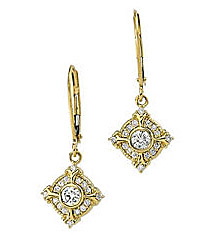 Pretty Lever Back Yellow Gold Earrings With Intricate Diamond Accents - SOLD