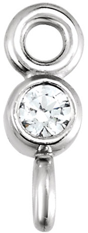 Pretty Micro Bezel Set Diamond Link With Opposite Oriented Loops in 14kt Gold for Diamond Sized 1.50 mm - 4.00 mm