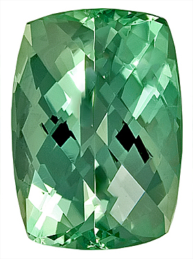 Pretty Pastel Blue-Green Tourmaline Genuine Gemstone,  Antique Cushion Cut, 12.9 x 9.1 mm,  Rose Cut, 12.9 x 9.1 mm, 6.46 carats