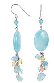 Pretty Pastel Colored Peach Pearl, Dyed Blue Quartz & Swarovski Crystal Cluster Dangle Sterling Silver Fashion Earrings - SOLD