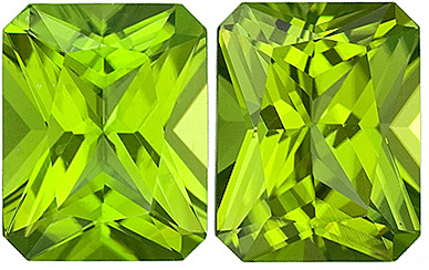 Pretty Radiant Cuts on Perfect Faceted Periodot Matched Pairs, Best Price! , 6.74 carats