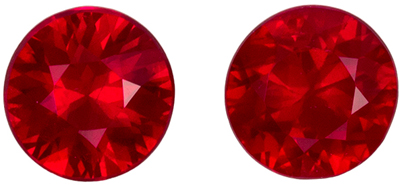 Pretty Ruby Round Cut Well Matched Gemstone Pair, Vivid Pure Red, 3.9 mm, 0.53 carats