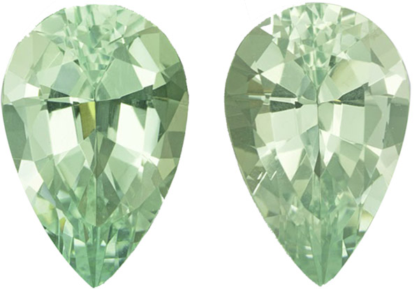 Pretty Well MatchedGreen Beryl Gem Pair in Pear Cut, Bright Green, 20.0 x 13.0 mm, 22.52 carats