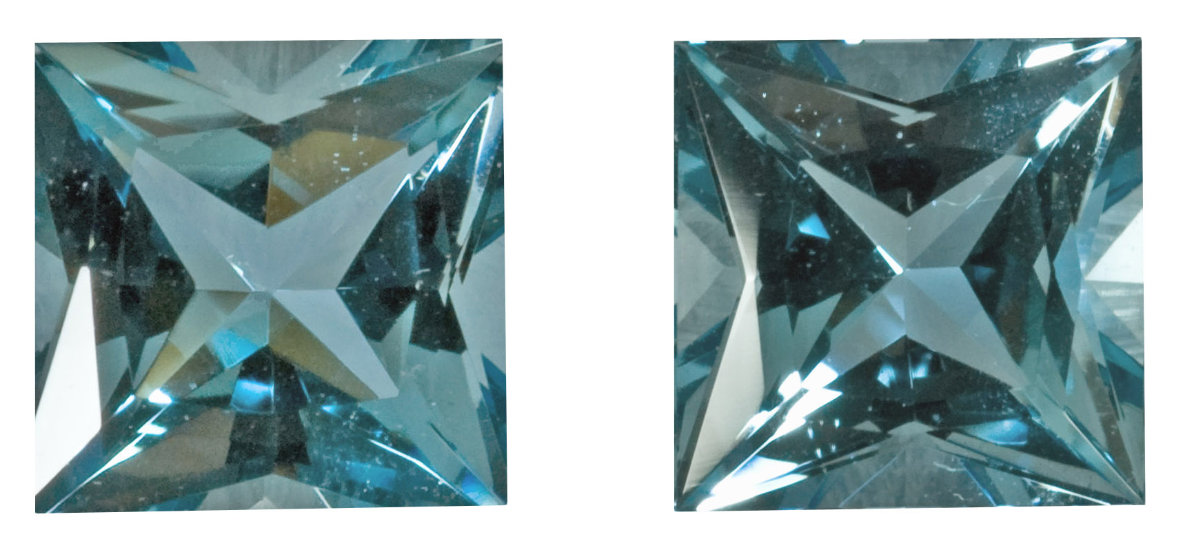 Princess Aquamarine Stones in Matched Pair in Rare Deep Blue Color and Size, 8.3 mm, 4.94 carats