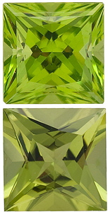 <b>Peridot Princess Cut - Calibrated</b>