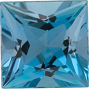 Princess Cut Genuine Aquamarine in Grade GEM