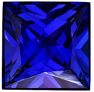 Princess Cut Genuine Blue Sapphire in Grade AAA