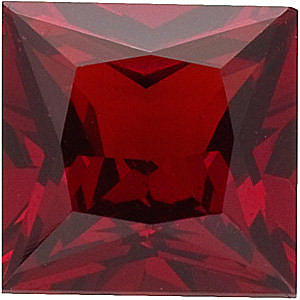 Princess Cut Genuine Red Garnet in Grade AAA