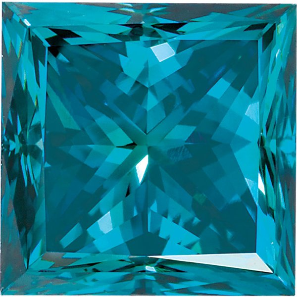 Princess Cut Teal Blue Enhanced Genuine Diamond