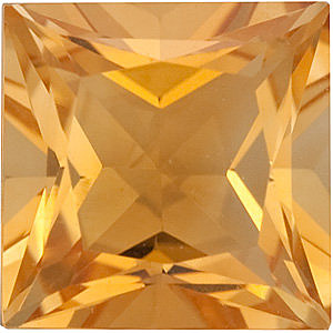 Princess Shape Citrine Gemstone Grade A, 6.50 mm in Size, 1.25 carats