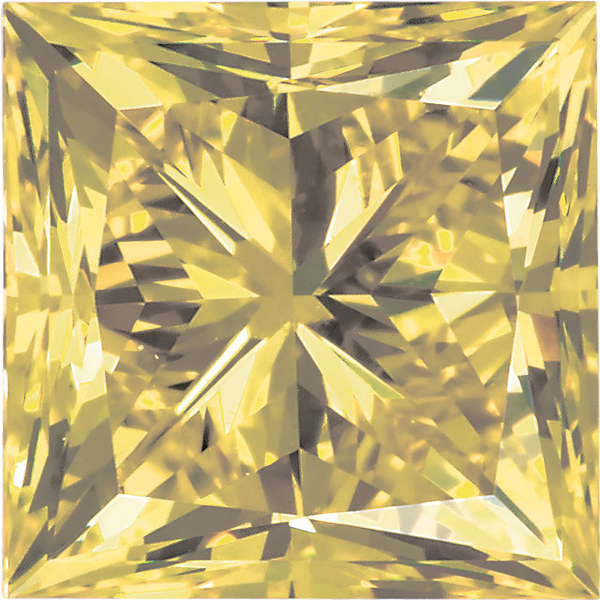 Princess Shape Enhanced Yellow Diamond SI Clarity, 4.20 mm in Size, 0.55 Carats