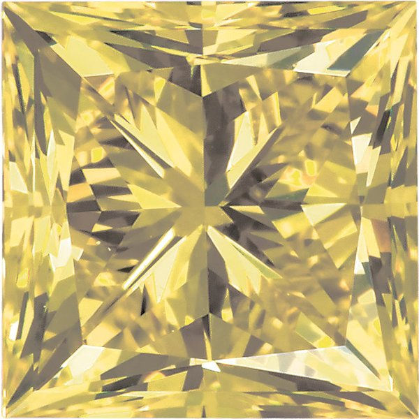 Genuine Enhanced Yellow Diamond Melee, Princess Shape, SI Clarity, 1.50 mm in Size, 0.03 Carats