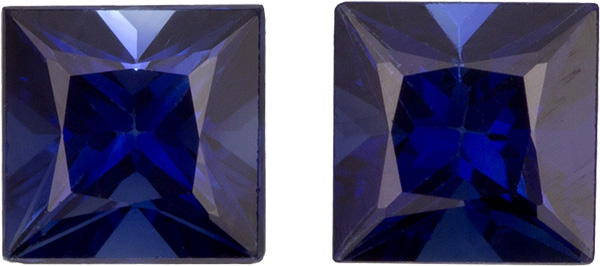Pure Fiery Blue Kancha Sapphires in Well Matched Pair in Princess Cut, 4.2 mm, 1.06 Carats