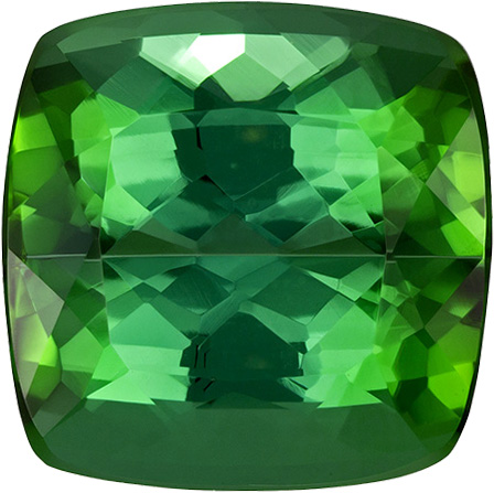 Pure Vivid Green Color Tourmaline Gem in Cushion Cut, 11.4 mm, 8.10 carats