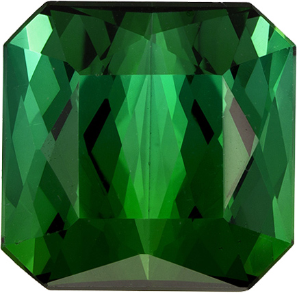 Pure Vivid Green Tourmaline Gem in Emerald Cut, 11.2 x 11 mm, 8.73 carats
