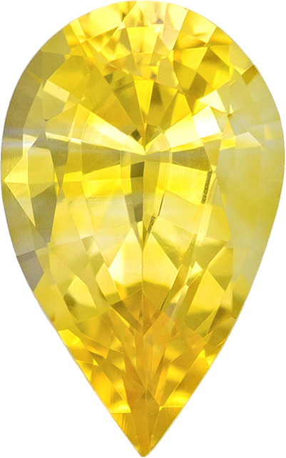 Pure Yellow Sapphire Loose Stone in Pear Cut, Intense Pure Yellow Color in 8.9 x 5.5 mm, 1.31 carats
