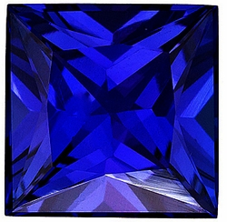 Quality Blue Sapphire Gem, Princess Shape, Grade AAA, 4.00 mm in Size, 0.46 Carats