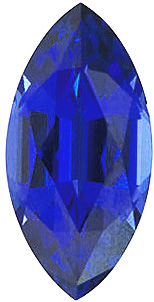 Quality Chatham Created Blue Sapphire Stone, Marquise Shape, Grade GEM, 6.00 x 3.00 mm in Size, 0.3 Carats