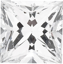 Quality Chatham Created White Sapphire Stone, Princess Shape, Grade GEM, 6.00 mm in Size, 1.55 Carats