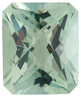 Quality Green Quartz Gem, Emerald Shape Checkerboard, Grade AA, 10.00 x 8.00 mm in Size, 3.3 Carats
