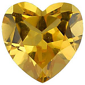Quality Imitation Citrine Gem,  Heart Shape, 8.00 mm in Size