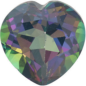 Quality Mystic Green Topaz Gem, Heart Shape, Grade AAA, 7.00 mm in Size, 1.5 Carats