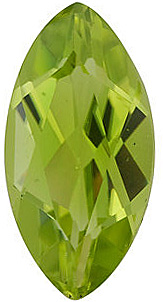 Quality Peridot Stone, Marquise Shape, Grade AAA, 10.00 x 5.00 mm in Size, 1.15 Carats