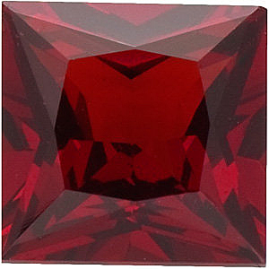 Quality Red Garnet Gemstone, Princess Shape, Grade AAA, 3.50 mm in Size, 0.32 carats