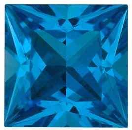 Quality Swiss Blue Topaz Gem, Princess Shape, Grade AAA, 8.00 mm in Size, 2.75 Carats