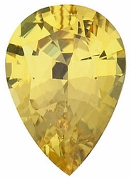 Quality Yellow Sapphire Gemstone, Pear Shape, Grade AA, 6.00 x 4.00 mm in Size, 0.53 Carats