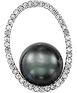 Radiant 10.93ct 11mm Tahitian Pearl and Diamond Oval Pendant in 14 karat White Gold with FREE Gold Chain