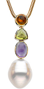 Radiant 12mm South Sea Cultured Circl? Pearl & Multicolor Gemstone Pendant in 14 karat Yellow Gold
