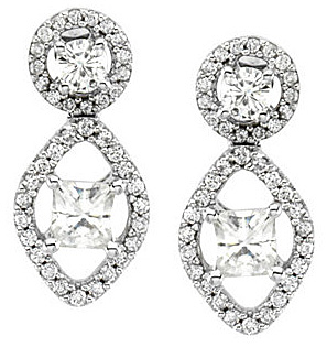 Radiant 14k White Gold Post Back Dangle Earrings With .98ct Round & Square Shape Moissanite - Fabulous Diamond Accents - SOLD
