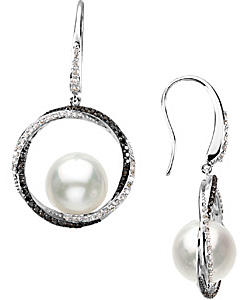 Radiant 19.5ct 11mm Black & White Diamond South Sea Pearl Earrings in 14 karat White Gold with Black Rhodium