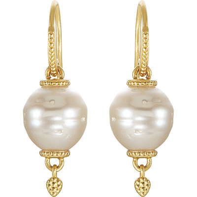 Radiant 22ct 11mm Paspaley South Sea Cultured Pearl Earrings in 14k Yellow Gold - Granulated Design - SOLD