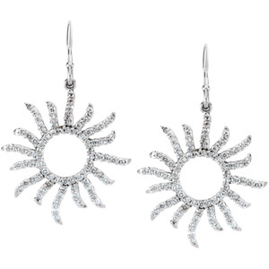 Radiant 3/4 ct tw Diamond Sun Earrings expertly set in 14 karat White Gold for SALE - Super Discount! - 1.00 mm Stones