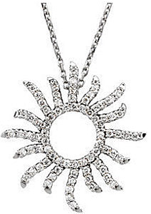 Radiant .38ct Diamond Sun Pendant in 14k White Gold for SALE - FREE Chain