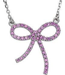 Radiant .47ct 1mm Pink Sapphire Bow Necklace expertly set in 14 karat White Gold for SALE - FREE Chain