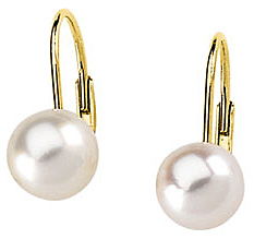 Radiant Akoya 6mm Cultured Pearl Lever Back Earrings in 14 karat Yellow Gold