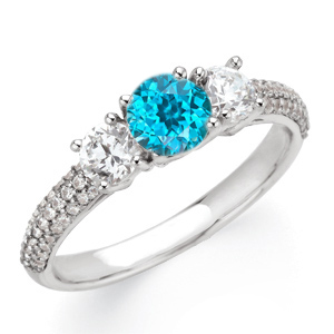 Radiant Blue Zircon & Diamond 3-Stone Gemstone Engagement Ring With Pave Diamond Band - Color Pop Accessory - SOLD