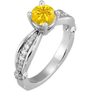 Radiant Brightly Colored Yellow 1 carat 6mm Sapphire Solitaire Engagement Ring - Dazzling Diamond Accents