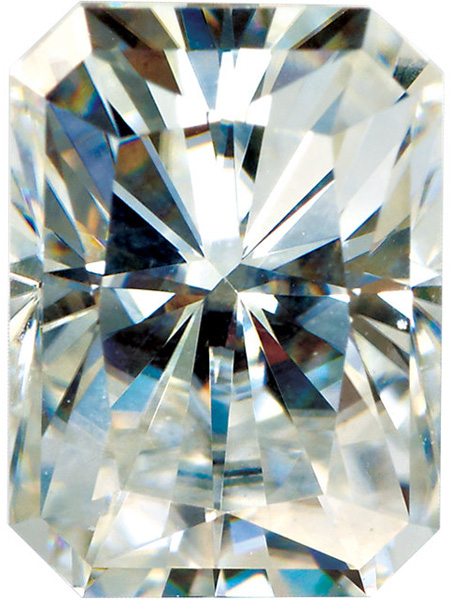 Radiant Cut Emerald Shape Moissanite Genuine Charles & Colvard Gemstone Grade AAA, 8.00 x 6.00 mm in Size