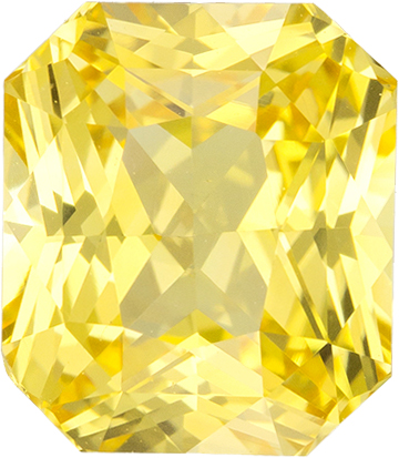 Radiant Cut Rich Pure Yellow Sapphire Gem GIA Certed, 7.68 x 6.65 x 5.05 mm, 2.62 carats - SOLD