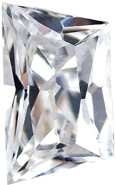 Loose Quality Faceted Colorless Cubic Zirconia Gem in Trapezoid Shape Radiant Cut Sized 5.00 x 3.00 mm