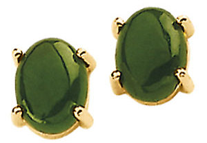 Radiant Four Prong 8x6mm Jade Cabochon Post Earrings set in 14 karat Yellow Gold for SALE