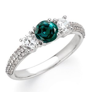 Radiant GEM Grade Round 0.55 carat 4.80 mm Alexandrite Gemstone Engagement Ring With Diamond Accents