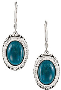 Radiant Opaque 6.8 ct 13x9 mm Oval Shaped Apatite Earrings expertly set in Sterling Silver for SALE