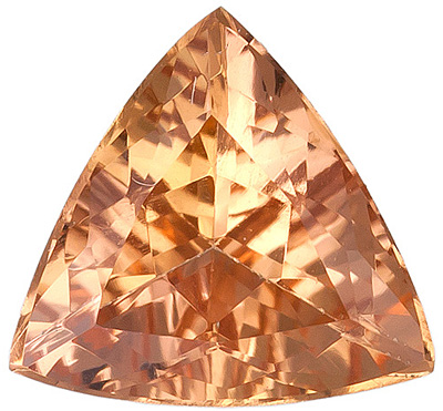 Radiant Rich Peachy Golden Topaz Natural Gemstone from Brazil, Trillion Cut, 0.81 carats